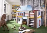 Hochbett Kinderbett Ritter Tunnel Vorhang Kinderzimmer Kiefer massiv