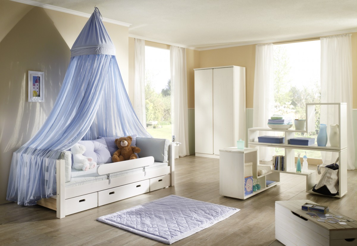 kinderbett schubladenbett fallschutz kinderzimmer himmel blau kiefer massiv wei ebay. Black Bedroom Furniture Sets. Home Design Ideas