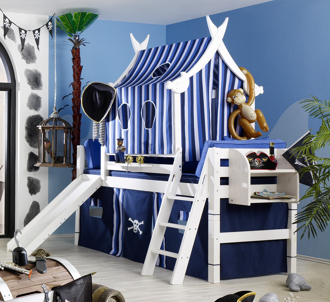 piratenbett pirat bett kinderbett abenteuerbett schiff kiefer massiv weiss ebay. Black Bedroom Furniture Sets. Home Design Ideas