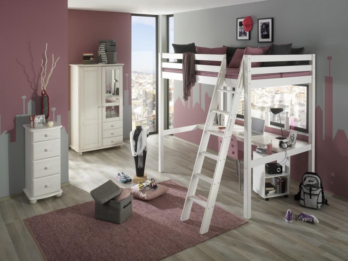 Kinderzimmer komplett hochbett  Kinderzimmer Komplett Set Kiefer massiv weiss Hochbett mit ...