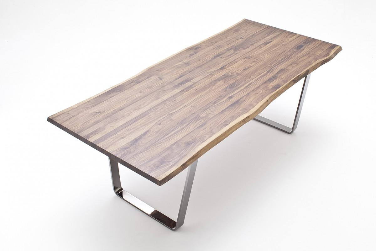 Schon Tisch Esstisch Bügelgestell Stahl Nussbaum Massiv Geölt Rustikal Baumkante