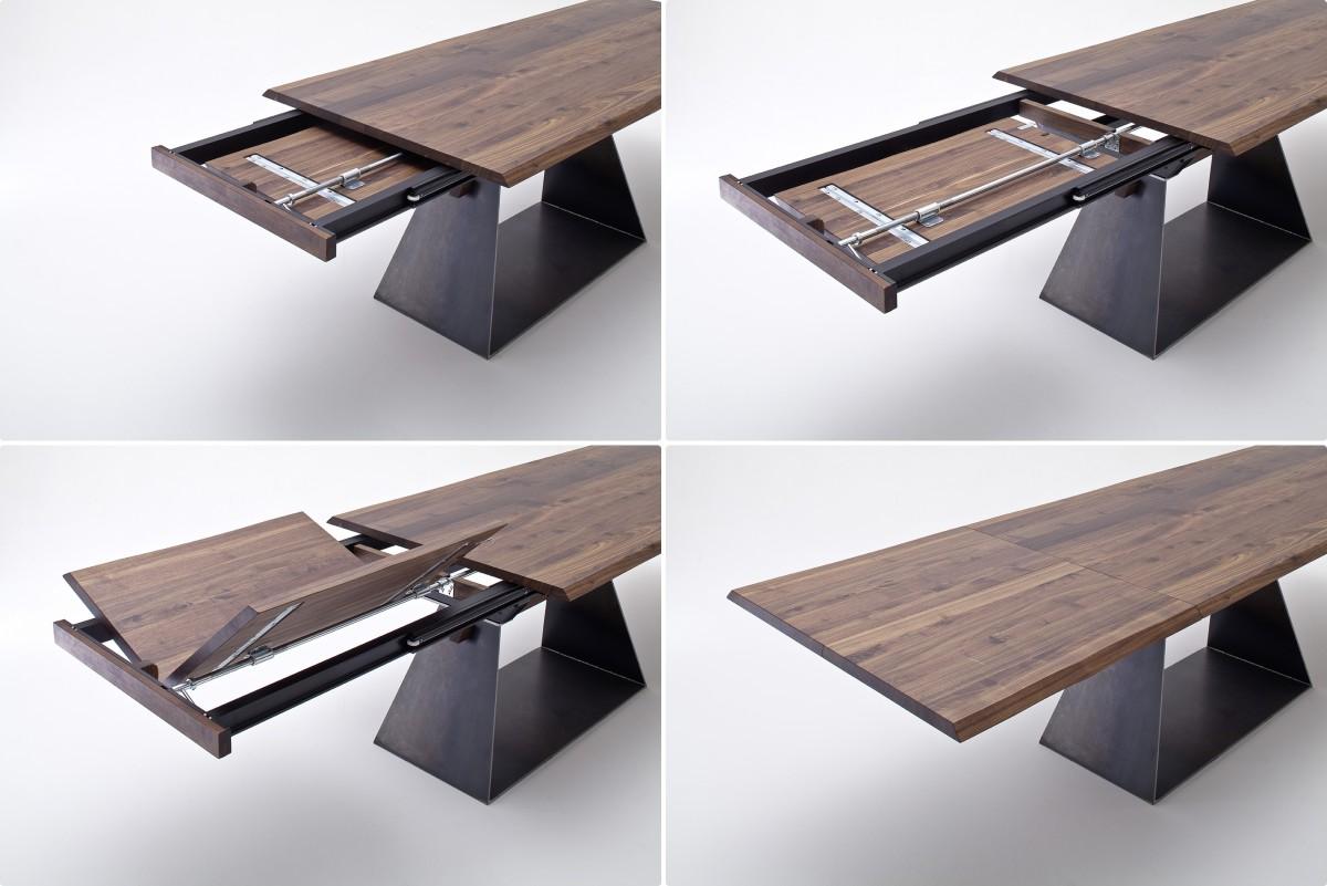 Tisch esstisch mit verl ngerung auszug nussbaum massiv for Tisch nordic design