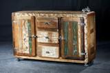 Sideboard Anrichte Kommode Altholz bunt Vintage recycelt Industrial Rollen