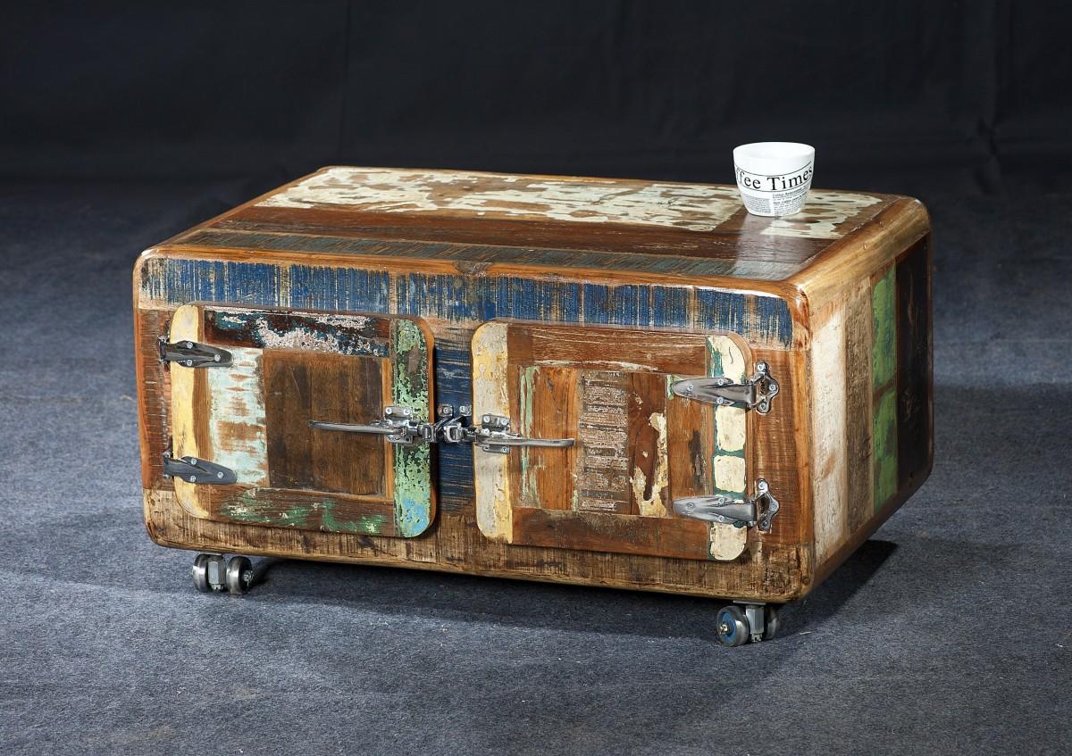 Couchtischtruhe Couchtisch Truhe Truhentisch Altholz Vintage Bunt