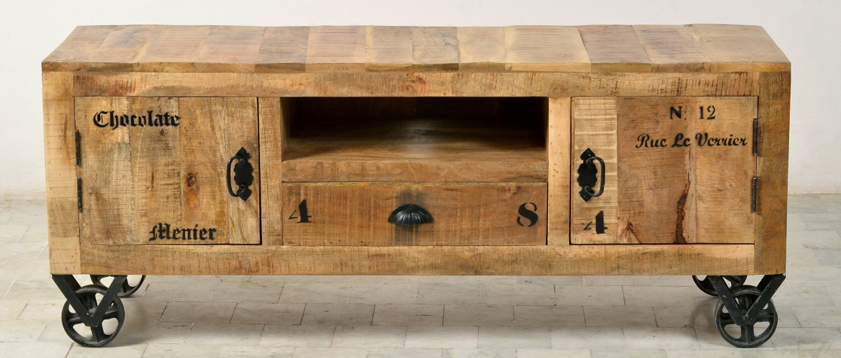 lowboard tv board kommode auf rollen mango holz antikfinish vintage wohnzimmer tv m bel. Black Bedroom Furniture Sets. Home Design Ideas