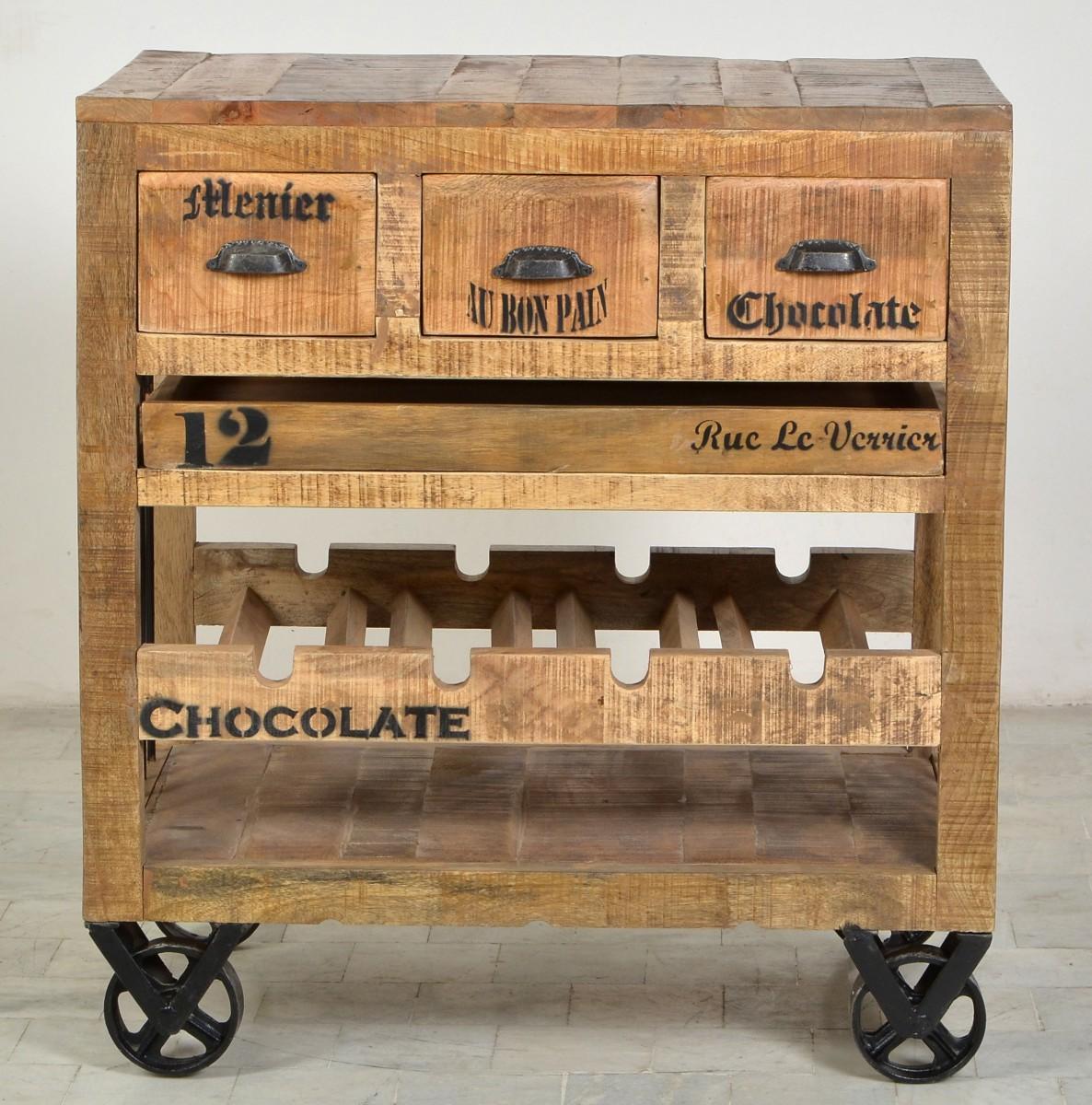 Servierwagen Küchenwagen Tablett Weinkommode Mango rustikal ...