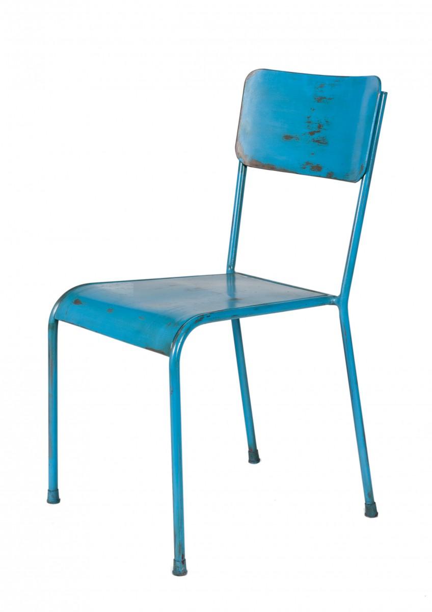 Elegant Metall Stuhl Dekoration Von Stühle Set 2 Metallstuhl Vintage Design Blau