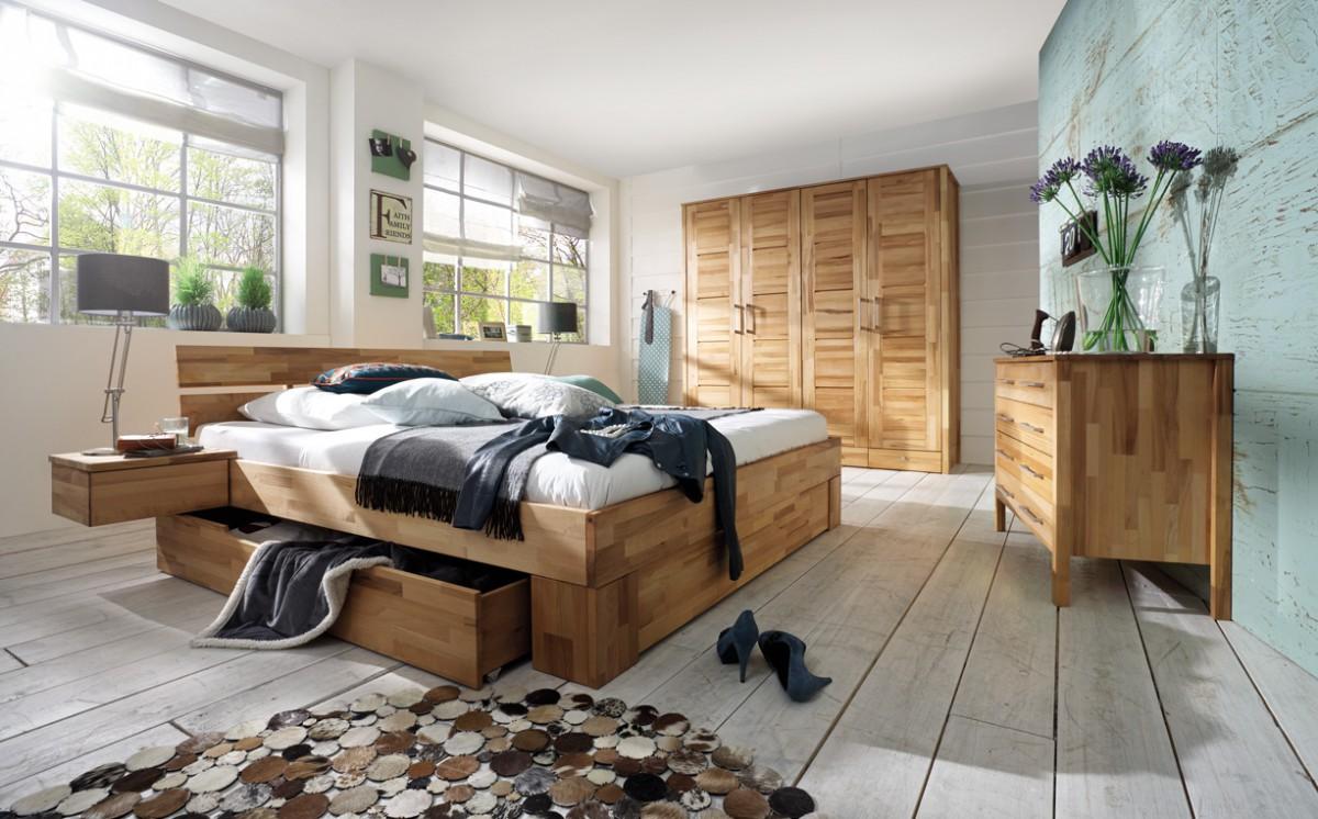 Schlafzimmer Set Kompletteinrichtung Kernbuche massiv geölt Bett ...