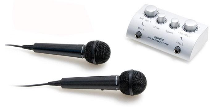 Karaoke-Mischverstärker + 2x Mikrofon TV-1
