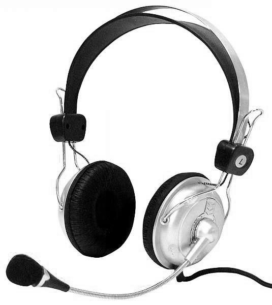Stereo-Headset mit Lautstärke-Regler SC-800 silber