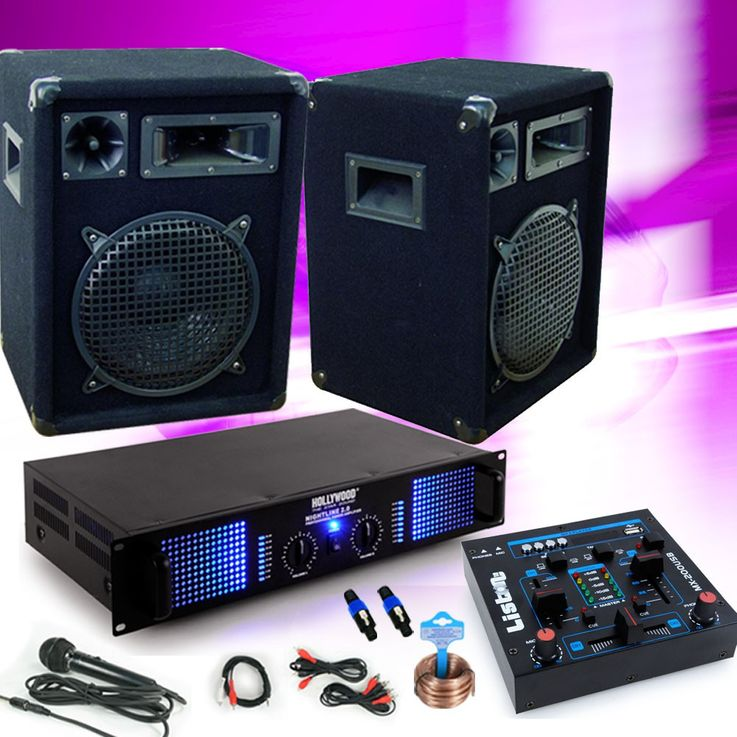 PA music system party speaker boxes 1200W amplifier USB mixer mixer DJ-143 – Bild 2