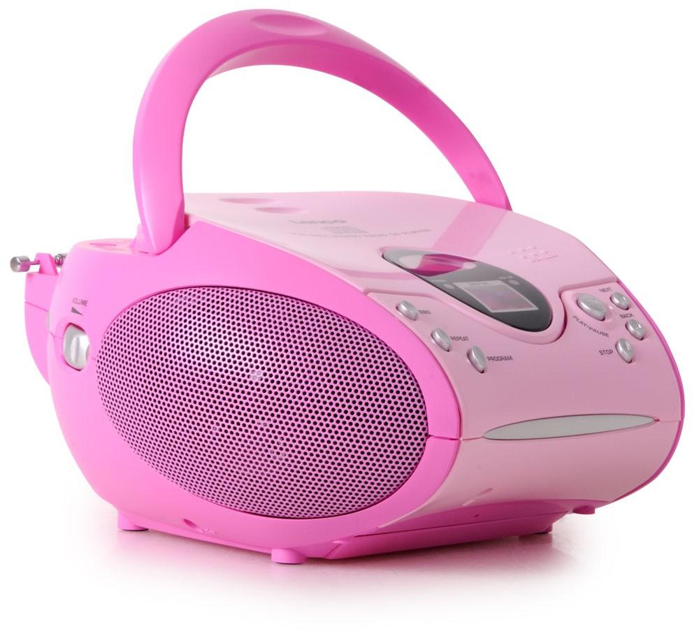 Lecteur laser CD portable filles chaîne hi-fi radio tuner FM rose bonbon musique – Bild 1