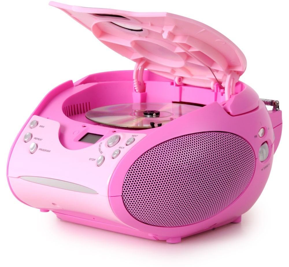 Lecteur laser CD portable filles chaîne hi-fi radio tuner FM rose bonbon musique – Bild 2