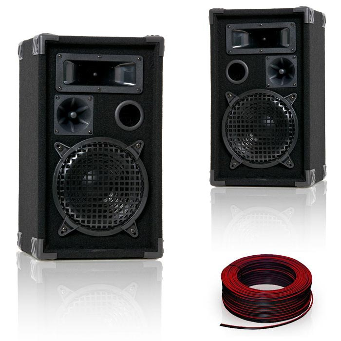 PAIRES des baffles 600 W haute-parleurs PA DJ-Pro 8 + câbles – Bild 1