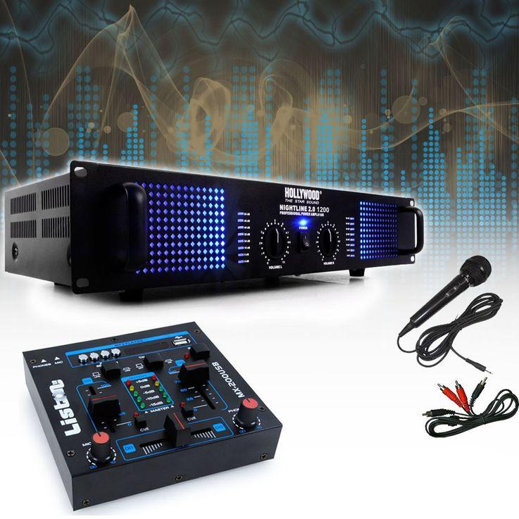 PA DJ 2400 Watt Verstärker USB MP3 Mixer Mischpult Cinch Kabel Mikrofon DJ-209 – Bild 2