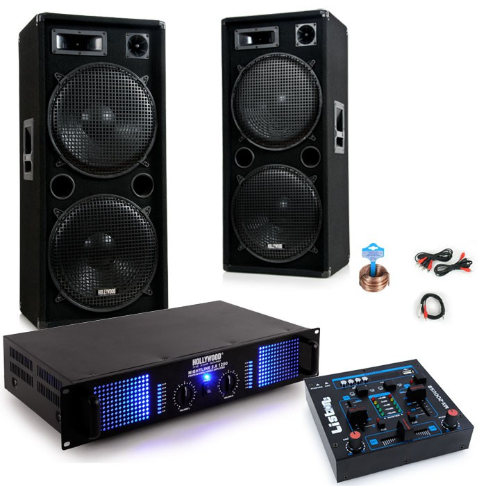 3000w dj anlage mit boxen usb mixer und verst rker dj 254. Black Bedroom Furniture Sets. Home Design Ideas