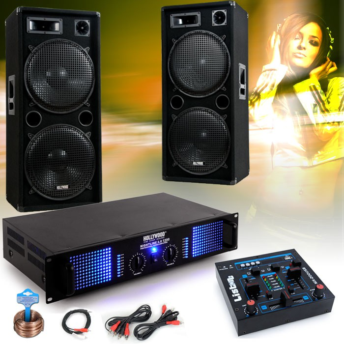 3000W DJ system with boxes USB mixer and amplifier – Bild 2