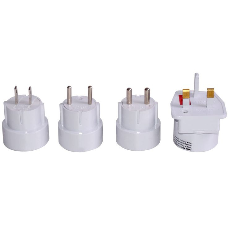 Travel Plug Set 4-piece Sockets Adapter white universal worldwide – Bild 1