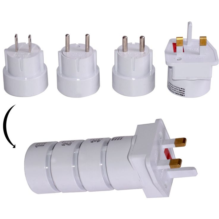 Travel Plug Set 4-piece Sockets Adapter white universal worldwide – Bild 3