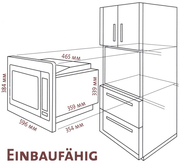 barbecue grill Built In Microwave with Grill and Frame Kit Bomann MWG 2215 EB – Bild 2