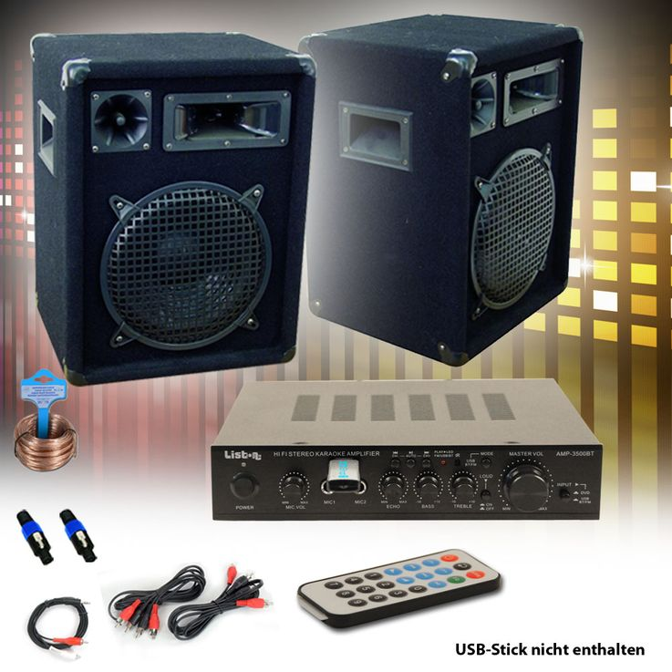 PA Party Musik Anlage Bluetooth USB MP3 Receiver Verstärker Fernbedienung Boxen DJ-566 – Bild 2