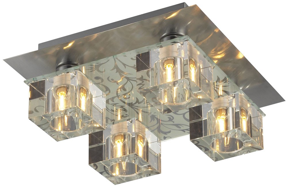 Deckenleuchte, quadratisch, Stahl, Kristallglas ICE CUBE