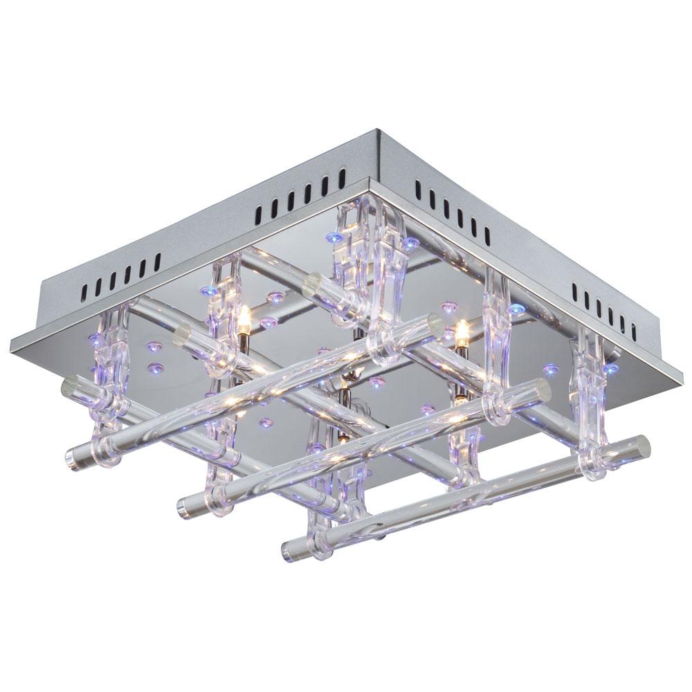Deckenlampe mit Effektbeleuchtung in blau und Fernbedienung