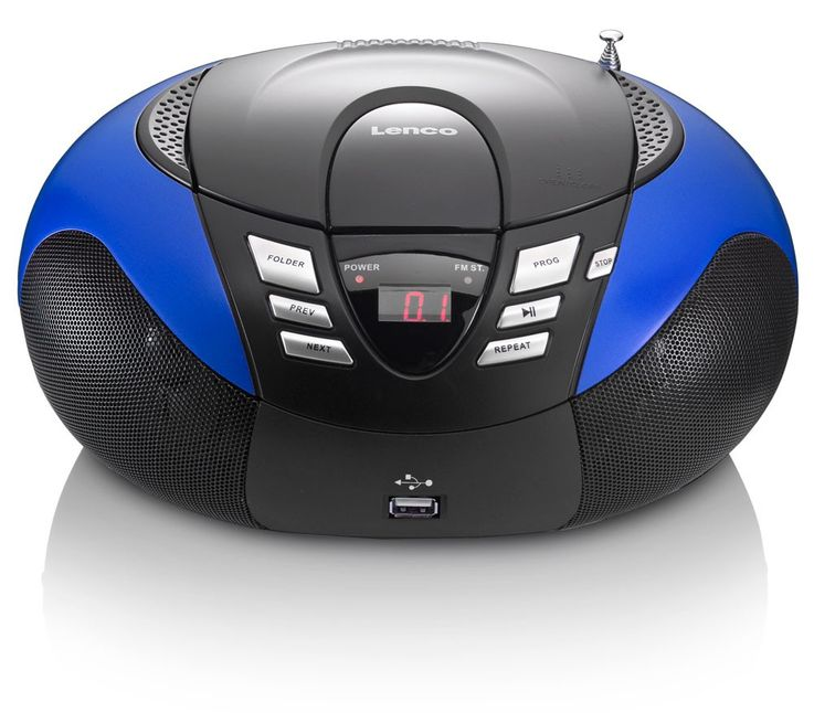 Portable CD Player FM/MF Radio Tuner MP3 WMA USB LED Display Lenco SCD-37 USB BLUE – Bild 2
