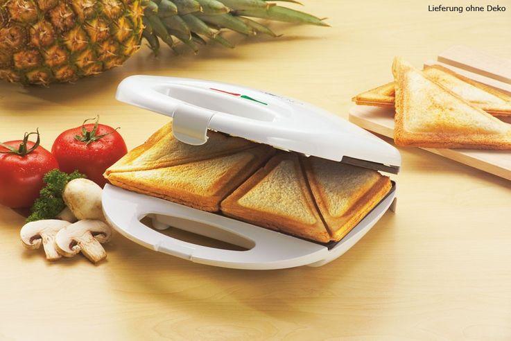Sandwichtoaster Sandwichmaker Sandwich Toaster toasten Clatronic ST 3274 weiss – Bild 2
