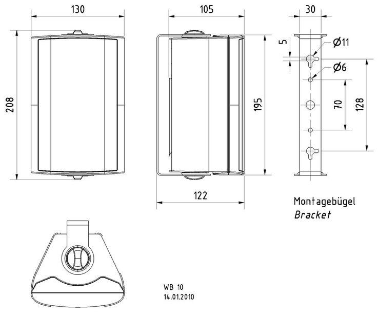 VISATON 2-Wege Kompaktlautsprecher Boxen Lautsprecher Outdoor 100V/8Ohm schwarz VS-WB10B – Bild 4