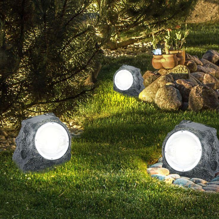 Solar LED Gartenstrahler Selbstaufladend Aussenleuchte Stein Design Globo 3302 – Bild 3