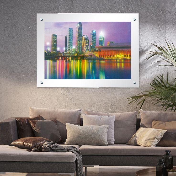 Moving Image Illuminated Skyline Glass Frame with Mirrored Lamp  Globo – Bild 2