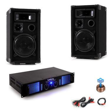 PA party Compact Stereo PA boxes 2400W amp cable DJ-Party 12 – Bild 1