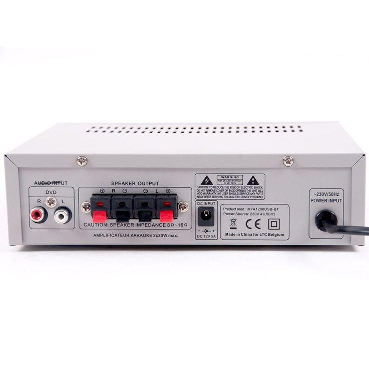 Karaoke Musikanlage Boxen Bluetooth Verstärker silber USB SD MP3 Funkmikrofon DJ-488 – Bild 6