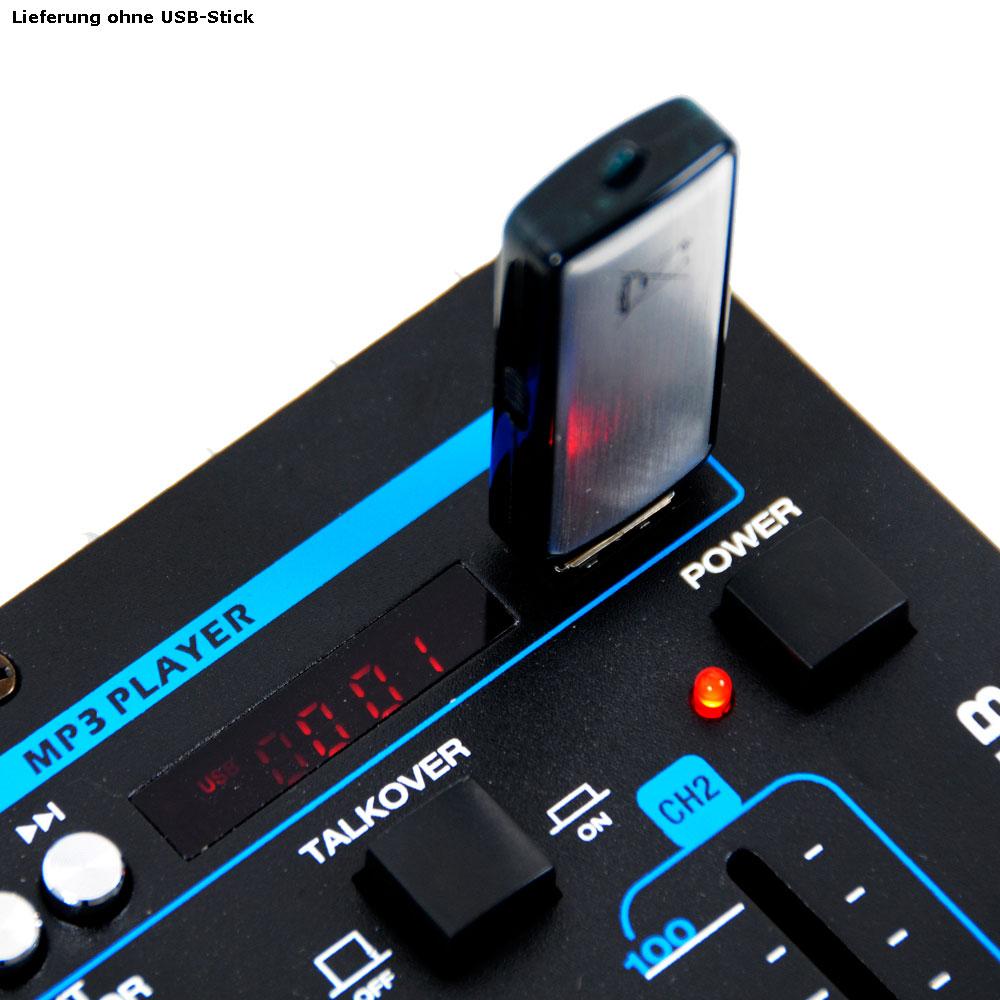 Partyanlage mit Verstärker USB Mischpult und Boxen DJ-631 – Bild 6