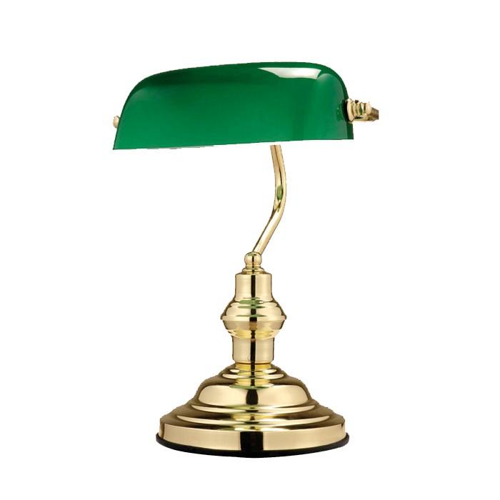 Antike Schreibtischlampe aus Metall Messing mit grünem Glas – Bild 6