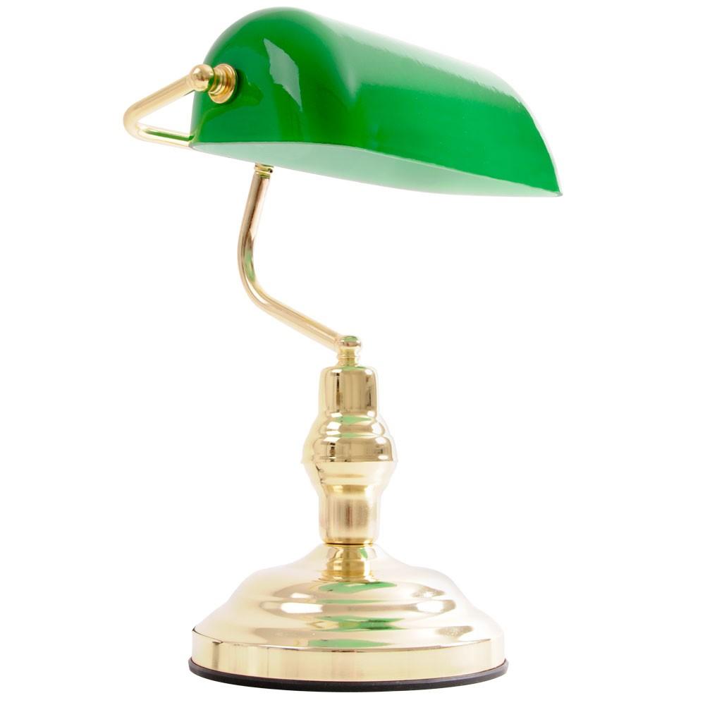 Antike Schreibtischlampe aus Metall Messing mit grünem Glas