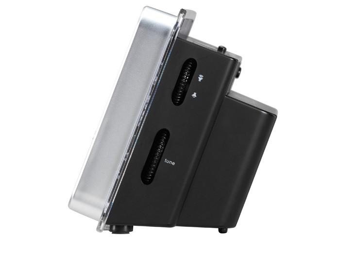 Réveil grand écran lecteur MP3 AUX-IN noir argent chambre Á coucher CL-1482 – Bild 3