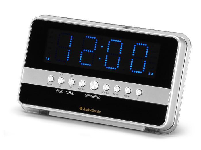 Réveil grand écran lecteur MP3 AUX-IN noir argent chambre Á coucher CL-1482 – Bild 1