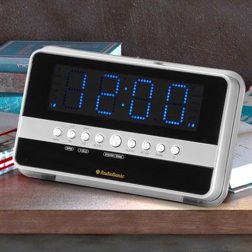 Réveil grand écran lecteur MP3 AUX-IN noir argent chambre Á coucher CL-1482 – Bild 5