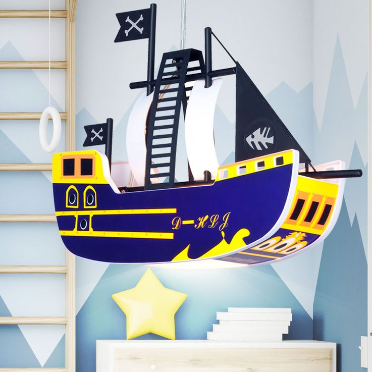 Children pendant ceiling light lamp light kids pirate ship Globo KITA 15723 – Bild 4