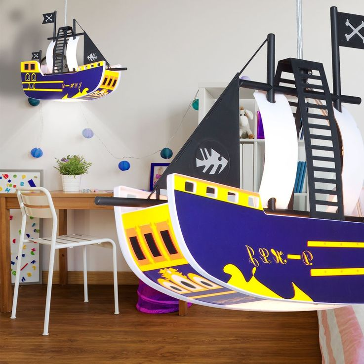 Children pendant ceiling light lamp light kids pirate ship Globo KITA 15723 – Bild 6