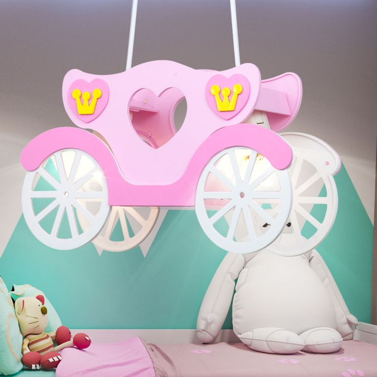Children Ceiling Light Girl Hanging Lamp Pink Princess Carriage  Globo 15724 – Bild 4