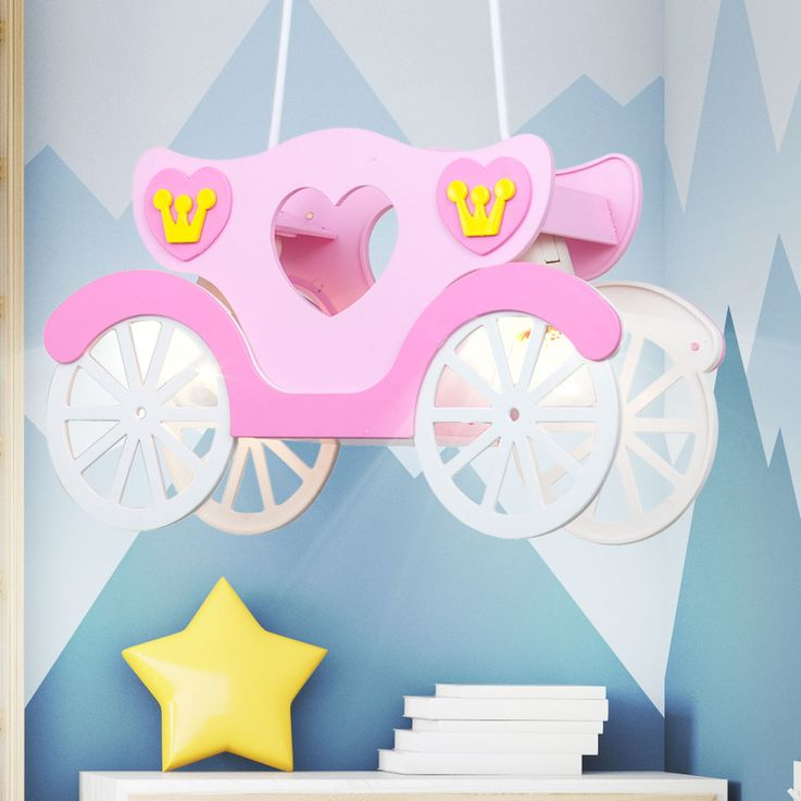 Children Ceiling Light Girl Hanging Lamp Pink Princess Carriage  Globo 15724 – Bild 5