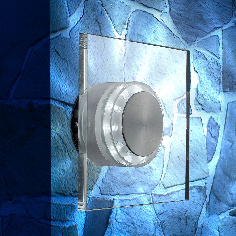 LED Edelstahl Wandlampe mit Glasschirm, Höhe 15 cm, DANA – Bild 4