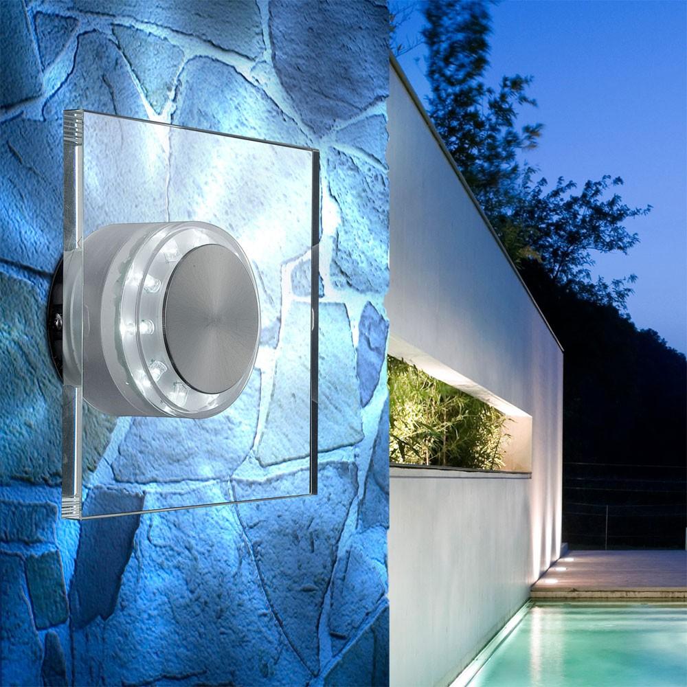 LED Edelstahl Wandlampe mit Glasschirm, Höhe 15 cm, DANA – Bild 2