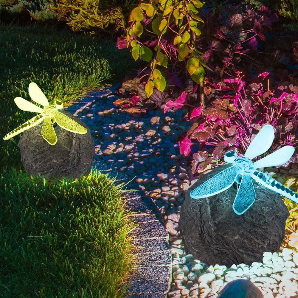 Solar Außenleuchte mit LED-Farbwechsler Stein mit Libelle – Bild 5