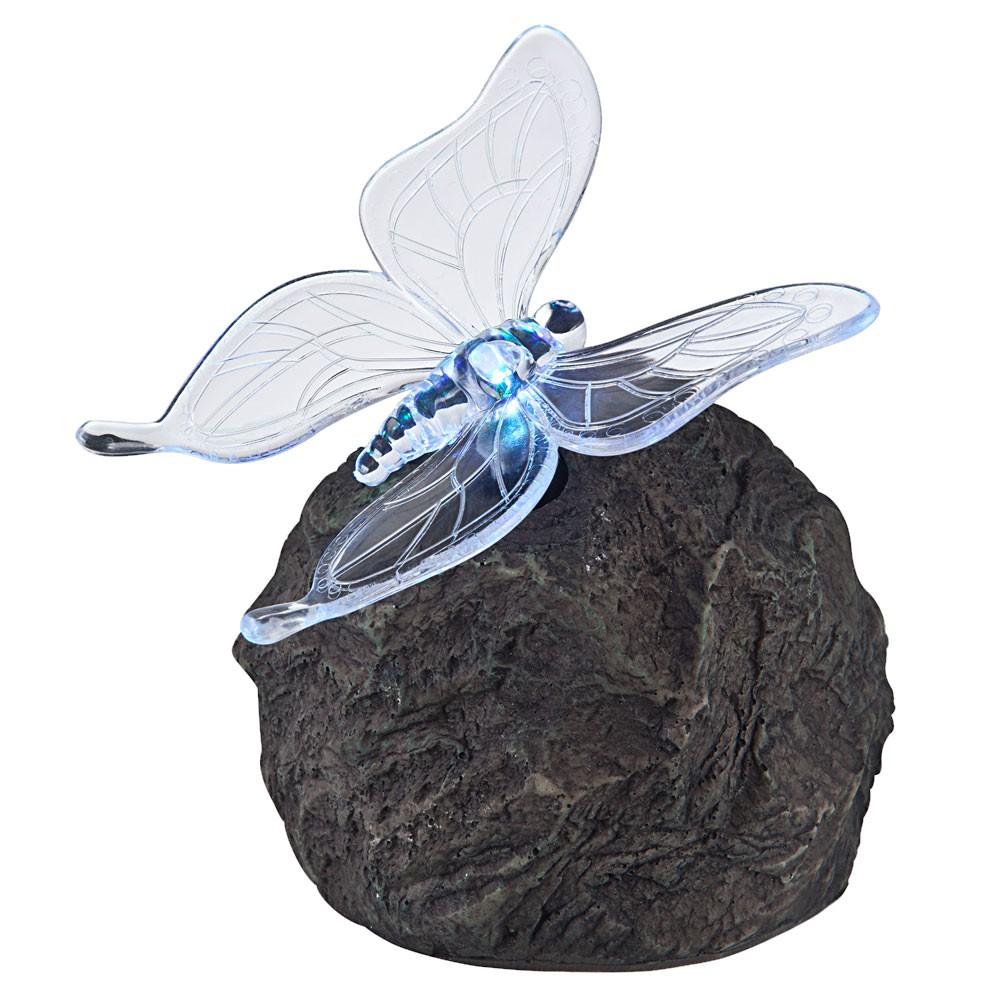 Solar Außenleuchte mit LED-Farbwechsler Stein mit Schmetterling – Bild 10