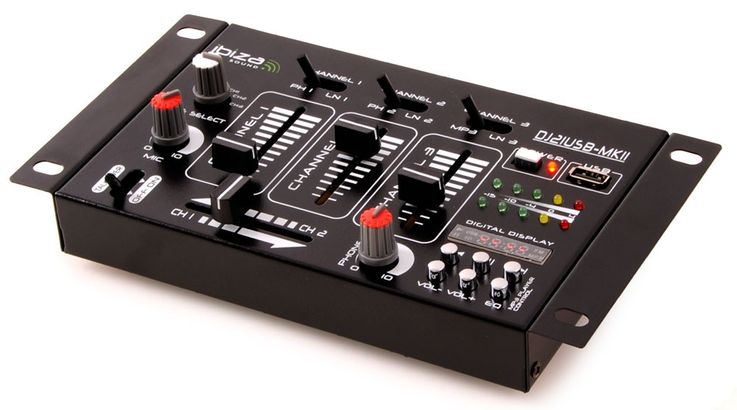 PA DJ Stereo Mixer USB MP3 Party compact 4-channel mixer VU meters Ibiza Sound DJ-21 MKII USB – Bild 1