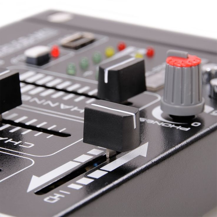 PA DJ Stereo Mixer USB MP3 Party compact 4-channel mixer VU meters Ibiza Sound DJ-21 MKII USB – Bild 4